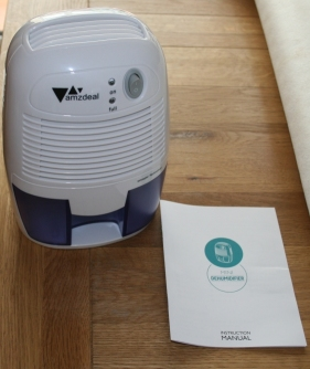 Front view of compact dehumidifier from amzdeal
